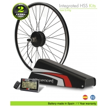 ELECTRIC BIKE KIT HIGH TORQUE EFF M15 400W HT 36V 25.6AH BOTTLECAGE ALUBOX 01AL (PANASONIC) REAR OF CASSETTE