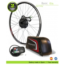 KIT ELÉCTRICO BICICLETA BASIC 250W HIGH TORQUE. BATERÍA PORTABIDON B52 CELDAS EFFICIENCED. 36V13.0AH CE