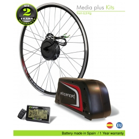 KIT ELÉCTRICO BICICLETA  EFF MEDIA PLUS 250W HIGH TORQUE. BATERÍA PORTABIDON B52 CELDAS EFFICIENCED. 36V11.0AH CE