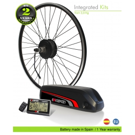 ELECTRIC BIKE KIT HIGH TORQUE EFF M15 400W HT 36V 13.6AH BOTTLECAGE HL50 (LG) REAR OF CASSETTE