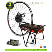 KIT ELÉCTRICO BICICLETA  EFF MEDIA PLUS 250W HIGH TORQUE. BATERÍA PORTABULTOS CELDAS EFFICIENCED. 36V11.0AH CE