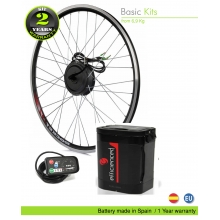 KIT ELÉCTRICO BICICLETA BASIC 250W HIGH TORQUE. BATERÍA TIJA SILLIN CELDAS EFFICIENCED. 36V8.8AH CE