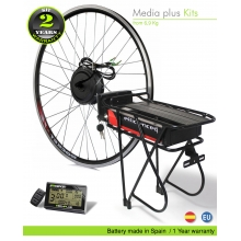 KIT ELÉCTRICO BICICLETA  EFF MEDIA PLUS 250W HIGH TORQUE. BATERÍA PORTABULTOS SSE 006 80C CELDAS EFFICIENCED. 36V20.8AH CE